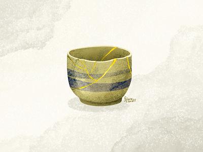 Kintsugi for a bad day drawing texture japanese art gold object vase kintsugi