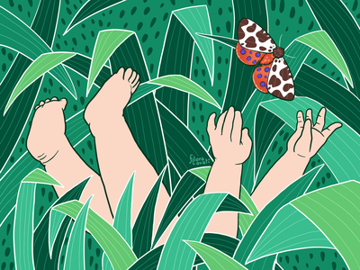 Child and Nature green butterfly feet hands drawing texture leaf kid child procreate illustration