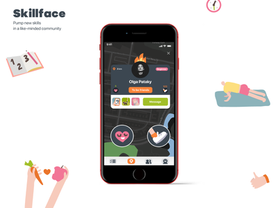 "Habbit App ""Skillface"" application interface icon uiux vector dribbble illustrator logo design ux ui"
