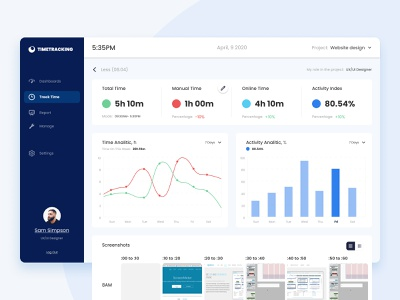TimeTracking — Track Time  with Analitic vector branding uiux artist figma design ux ui dribbble timetracking timetracker