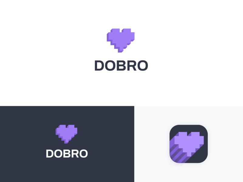 Concept logo DOBRO branding brand logotype icon color heart concept logo