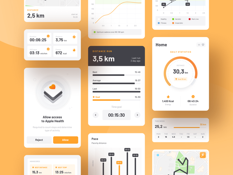 Running tracker ui elements - BeMove training dashboard stats chart cards ui cards mobile design mobile ui app