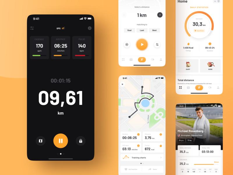 Running tracker - BeMove ui app design app ios runner running run map sport color concept tracker training mobile app mobile ui mobile