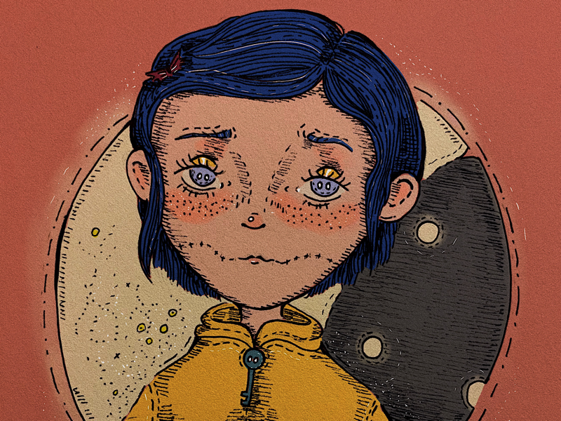 coraline illustration girl cat cute sad glitter sparkle moon brown pink colorpalette lineart whimsical magical artistsupport artist procreate digitalart illustration coralineillustration coraline