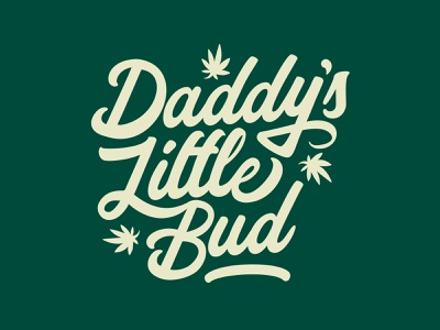 Little Bud script plants green marijuana lettering