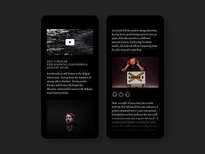 Piet Dierickx Website design electronica experimental musician dark minimal ux ui website