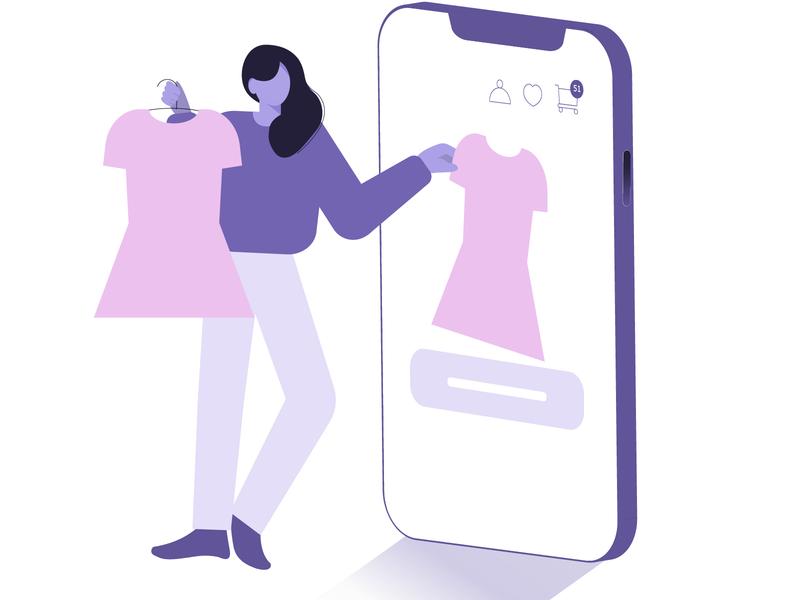 shopping phone vector web illustrator digitalart illustration shopping cart shopping app shopping