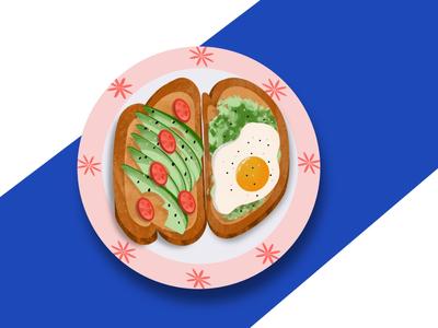 midnight craving procreate illustration toast avocado