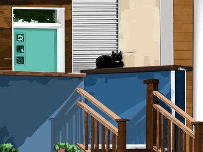 chilling cat illustration procreate