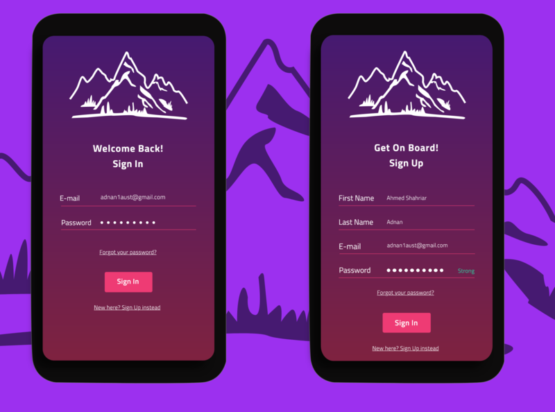 Mobile SignIn/SignUp UI ux design login design ui login screen login