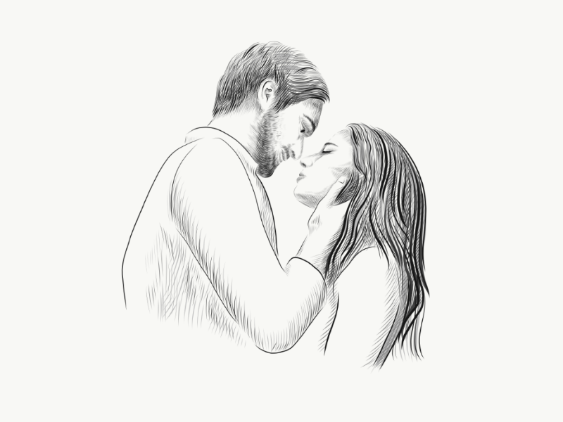 Love you so much art hand drawn people illustration vector graphics sketch kiss love couple