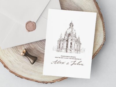 Wedding invitation with Fraukirchen Church in Dresden