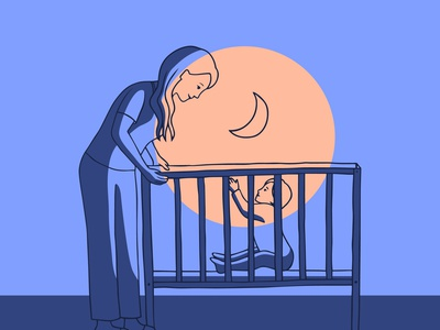 Insomnia - baby sitting family love night crib baby mother drawing hand drawn art vector illustration