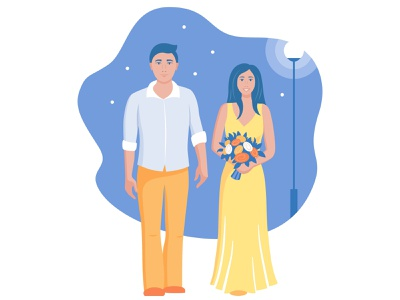 Randevous wedding meeting lover love couple ux ui portrait design art vector illustration