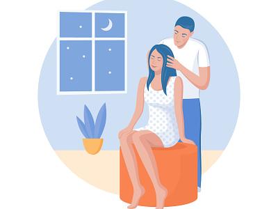 Head massage app couple love massage family portrait ux ui design art vector illustration