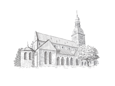 Riga Dome Cathedral tower sketch roof riga religion pencil old latvia illustration historical european europe drawing dome church christianity cathedral building art architecture
