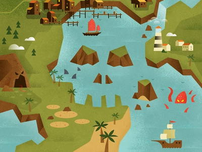 Port precarious by matt stevens dribbble working on a series of maps for the appgame two dots this one was just released owen davey has done amazing work establishing the illustrated look and gumiabroncs Gallery
