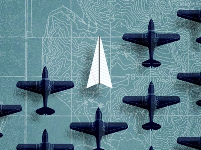 Directions plane illustration map airplane paper