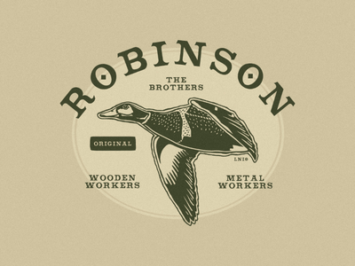 Robinson The Brothers illustration metal work wooden work graphic designer instagram duck retro vintage style logo