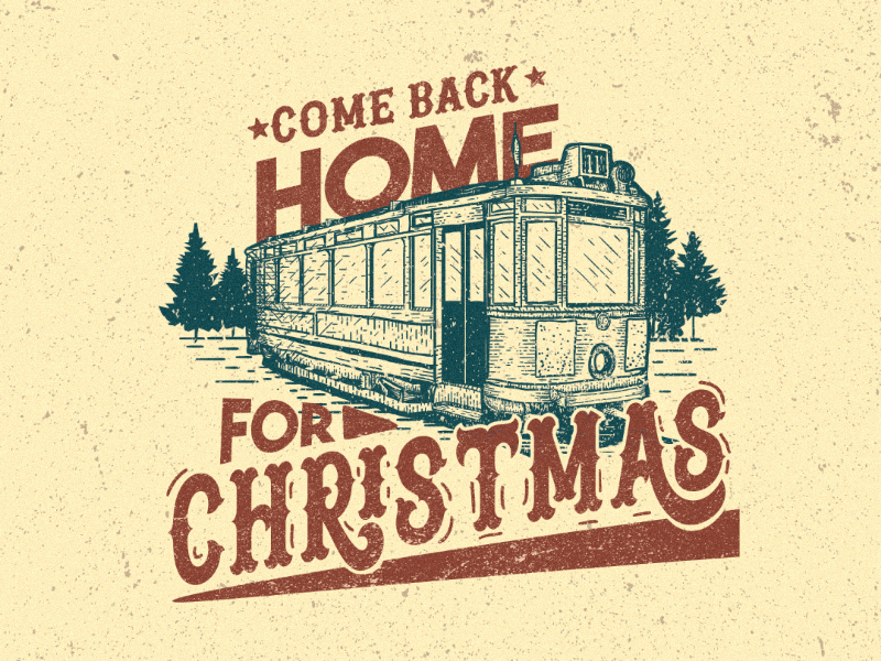 Come back home family holidays love christmas graphic design train vintage illustration