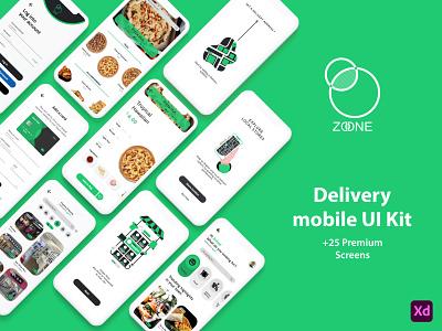 ZONE delivery App UI Kit xd ux ui kit kit app uxdesign logo brand design delivery adobe xd uiux figma