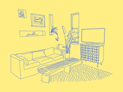 S   P   A   C   E plant couch room illustration