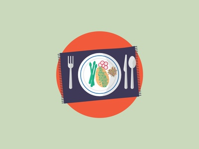 I'm Sittin' Down To Eat A Friggin Healthy Meal cutlery plate food illustration meal