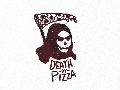 Death By Pizza death pizza grim reaper illustration sickle pepperoni gothic