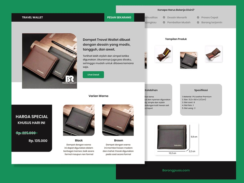 wallet web store shop wallet user interface landing page web design