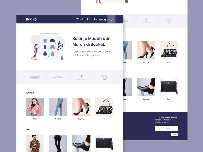 bakool online shop fashion brand online shop online store fashion web design design landing page