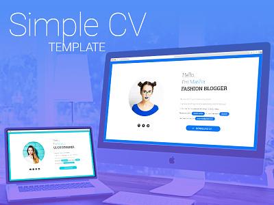Simple CV template html5 resume landing minimalist simple modern ux ui curriculum vitae cv template responsive