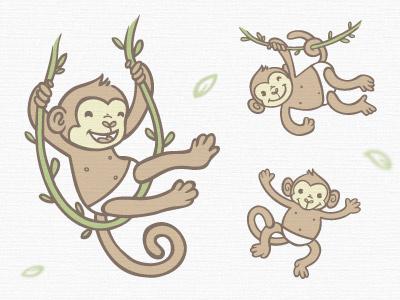Monkeys 2 cuddly monkeys pattern monkey cuddles hug cute illustration green eco