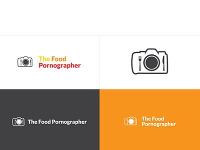 The Food Pornographer - Logo Redesign the food pornographer camera logo orange red white foodie blog blogger brand