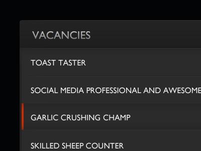 Vacancies Widget grey shiny widget list ui