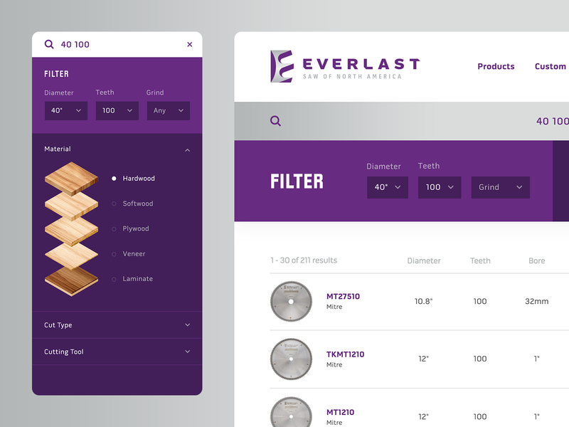 Everlast Search UI search interface saw blade filters branding website ui ux design