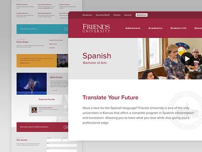 Friends University Programs web layout friends university website typography ux ui design