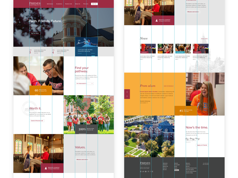 Friends University Home Layout website college friends university layout web ui ux design