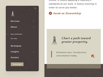 6 Meridian Mobile Nav css animation phone menu navigation mobile website ux ui branding design