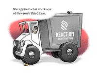 Newton's Third Law dump truck logo construction childrens book design illustration