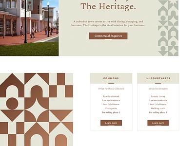 The Heritage Website residential property commercial development real estate website branding ux ui design