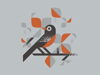 Robin jay walter robin design art leaves tree bird illustration