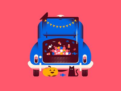 Trunk Treats pumpkin cat candy spooky vintage car trunk or treat vector halloween night design illustration