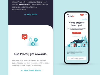 Profer Mobile Web website mobile app web app ux ui branding design illustration