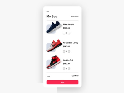 E commerce shoes app minimal