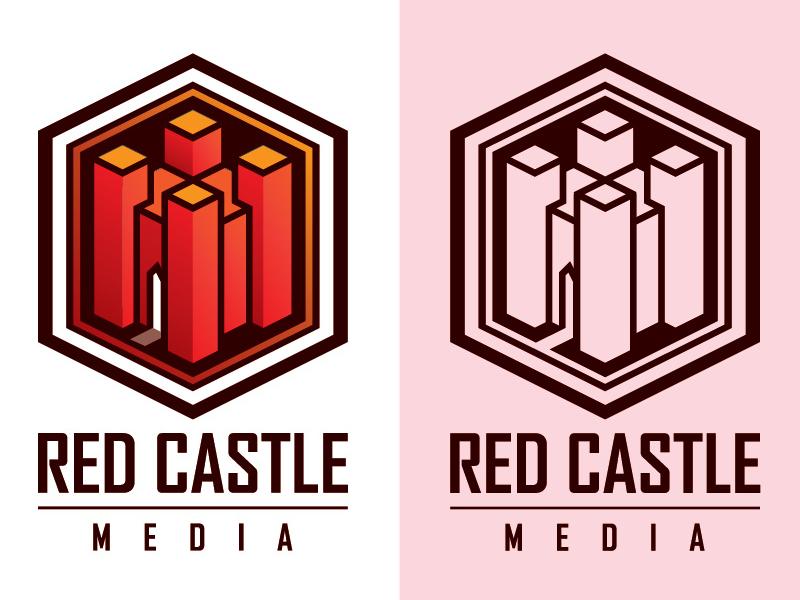 Red Castle Media castle icon logo illustration graphic deisgn
