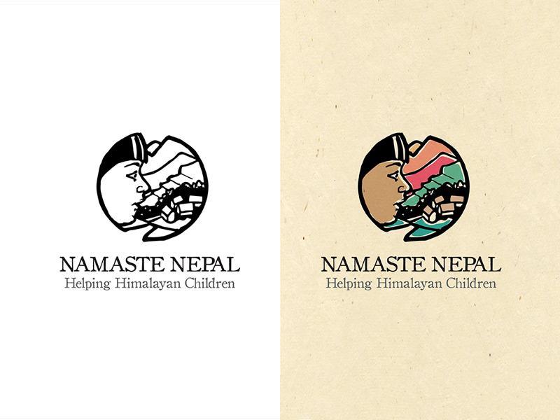 Namaste Nepal logo natural organic mark illustration logo