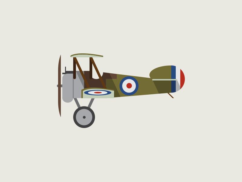 Sopwith Camel cartoon raf ww1 simple retro profile plane airplane graphic illustration