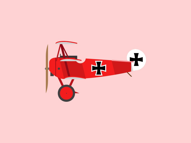 Fokker Dr.1 ww1 simple retro cartoon germans profile plane illustration graphic airplane