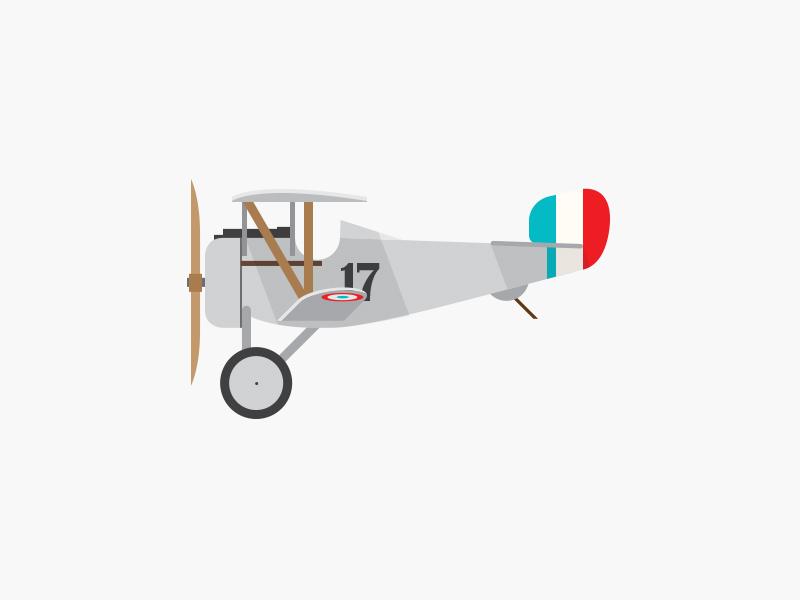 Nieuport 17 ww1 simple retro profile plane illustration graphic french cartoon airplane