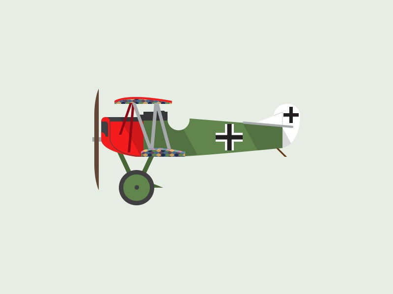 Fokker D.II ww1 simple retro profile plane illustration graphic germans cartoon airplane